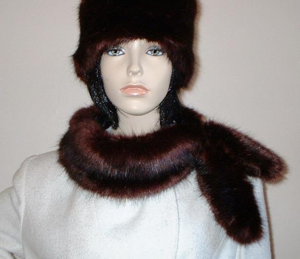 Burgundy Mink Faux Fur Slim Collar/Headband
