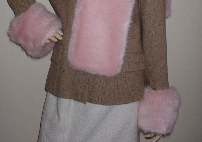 Raspberry Cream Mink Faux Fur Cuffs