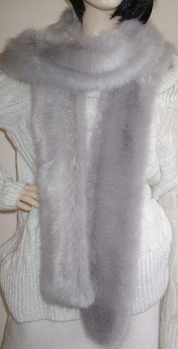 Silver Mink Faux Fur Super Long Scarf