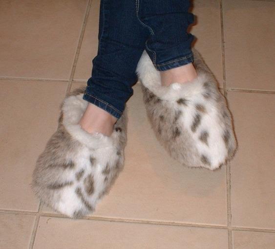 Lynx Faux Fur Slippers