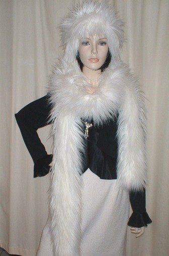 Polar Bear Faux Fur Super Long Scarf
