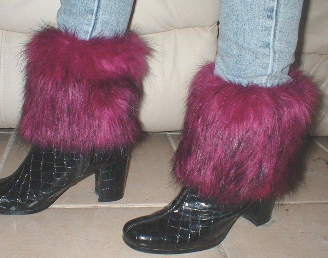 Magenta Faux Fur Boot Toppers (Pair)