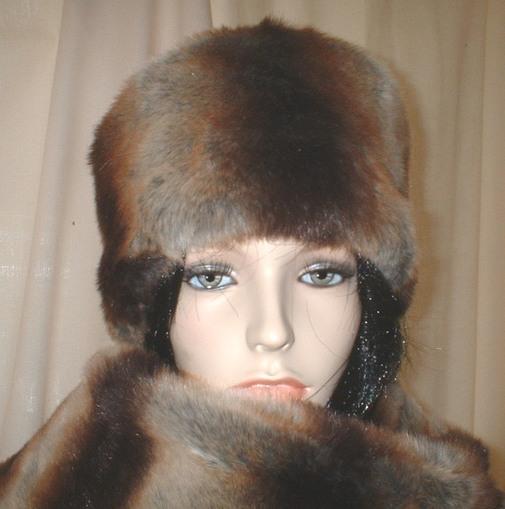 Golden Brown Chinchilla Faux Fur Hat