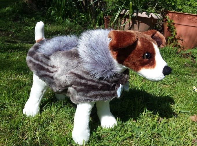 Vintage Silver Astra and Silver Musquash Faux Fur Dog Coat