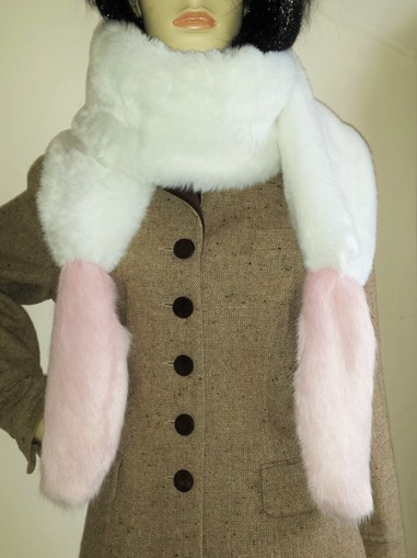 Raspberry Cream Mink and Snow White Faux Fur Boa Scarf