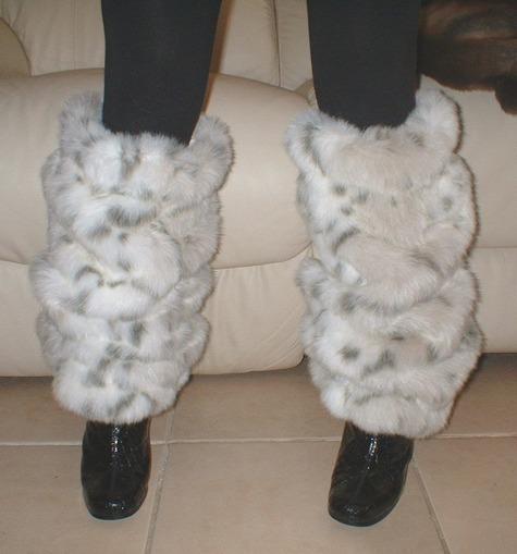 Snow Lynx Faux Fur Leg Warmers