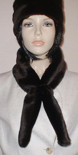 Chocolate Moleskin Faux Fur Slim Collar/Headband