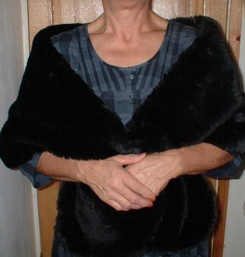 Black Mink Faux Fur Stole