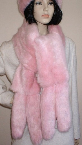 Raspberry Cream Mink Faux Fur Tail Scarf