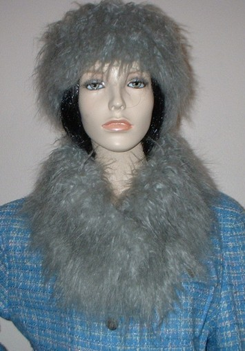 Mongolian Grey Faux Fur Long Collar