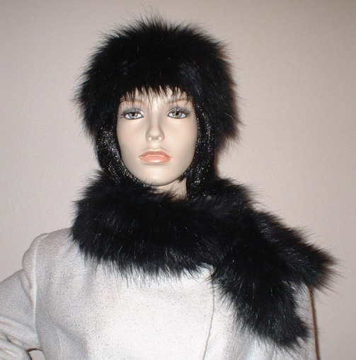 Black Bear Faux Fur Slim Collar/Headband