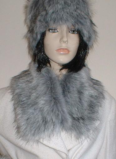 Silver Musquash Faux Fur Long Collar
