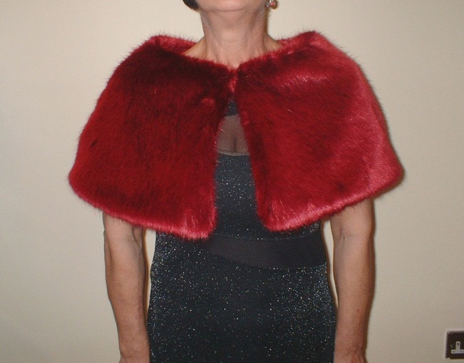 Ruby Red Faux Fur Capelet