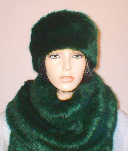 Hunter Green Faux Fur Headband