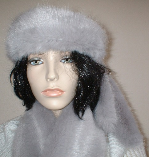 Silver Mink Faux Fur Slim Collar/ Headband