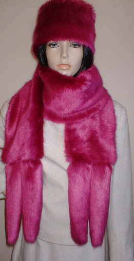 Hot Pink Mink Faux Fur Tail Scarf