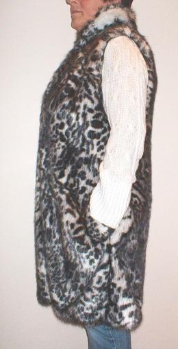 Panther Faux Fur Knee Length Gilet