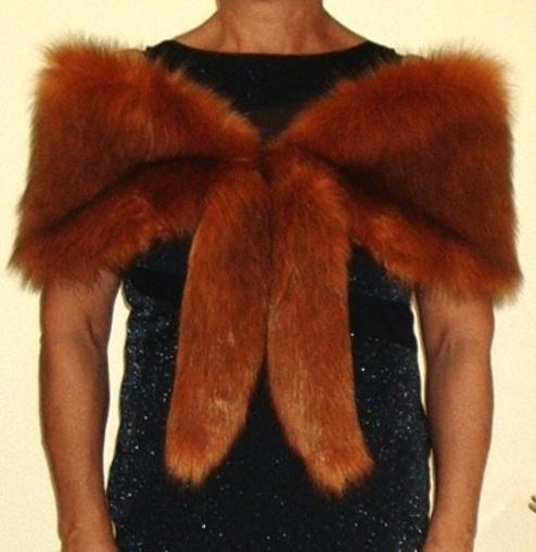 Red Fox Faux Fur Vintage Foxy Wrap