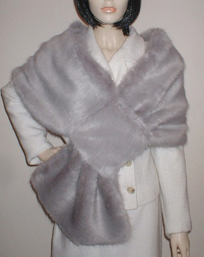 Silver Mink Faux Fur Pull Through Stole
