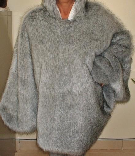Silver Musquash Faux Fur Poncho