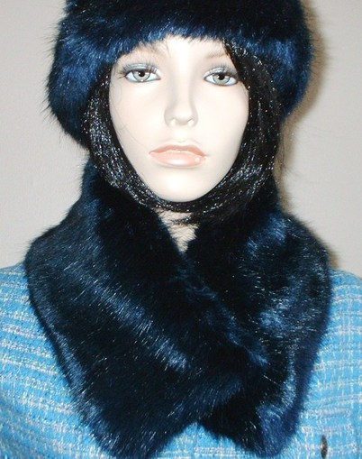 Midnight Navy Blue Faux Fur Long Collar
