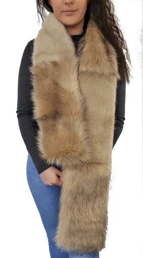 Fawn Musquash and Honey Blonde Faux Fur Striped Scarf