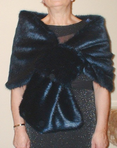 Midnight Navy Blue Faux Fur Pull Through Stole