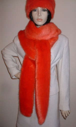 Coral Faux Fur Super Long Scarf