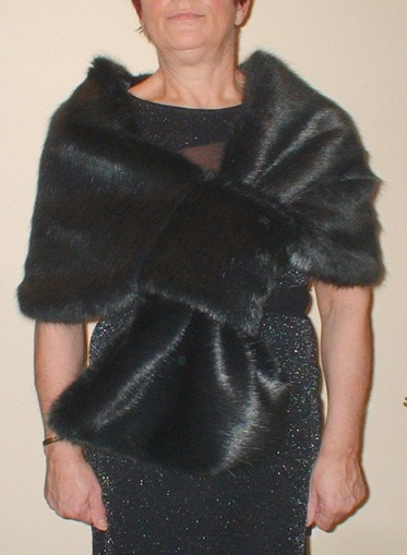 Charcoal Mink Faux Fur Pull Through Stole