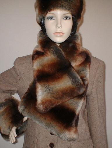 Golden Brown Chinchilla Faux Fur Asymmetric Scarf