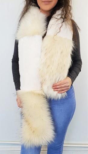 Tissavel Himalaya and Cream Moleskin Faux Fur Striped Scarf