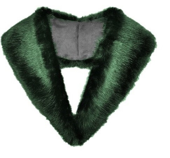 Hunter Green Faux Fur Lapel Collar