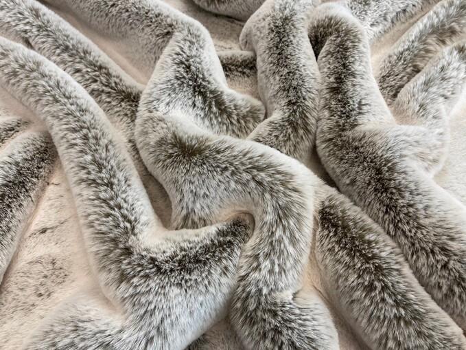 SALE Koala Faux Fur Throw with Mocha Velboa