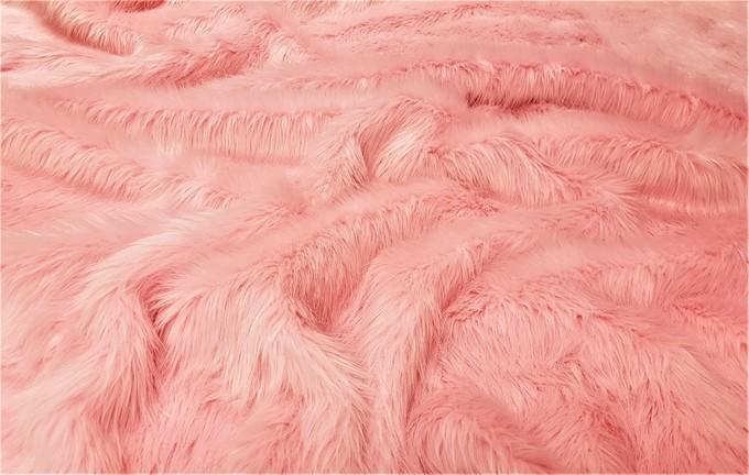 Pink Polar Bear Faux Fur Fabric Per Meter