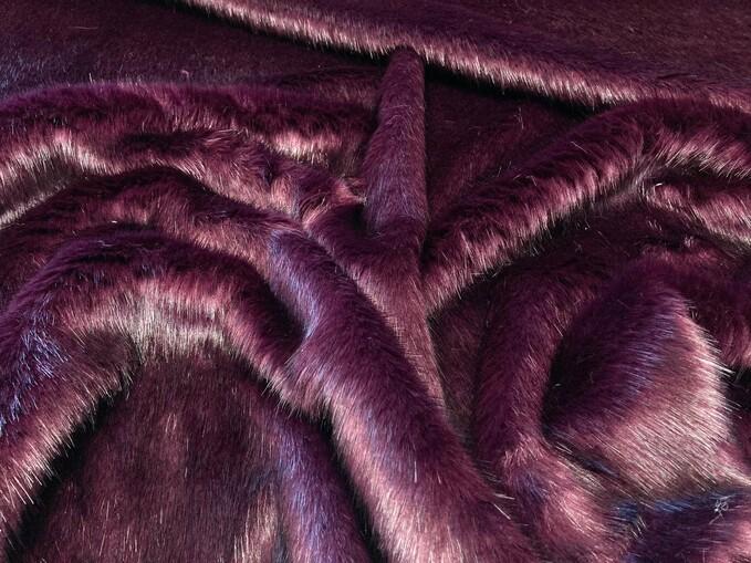 Plum Faux Fur Fabric Per Meter