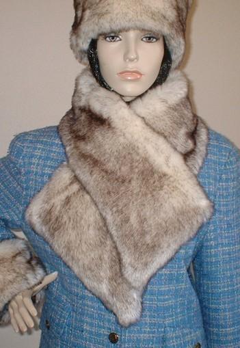 Polar Fox Brown Tip Faux Fur Asymmetric Scarf