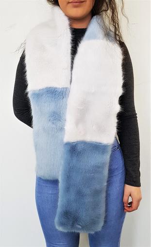 Powder Blue and White Faux Fur Team Scarf