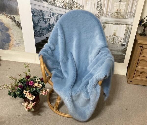 SALE Powder Blue Faux Fur Throw with Velboa