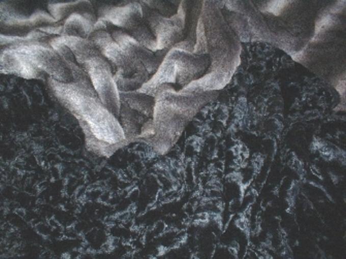 Black Astra Faux Fur Fabric per meter