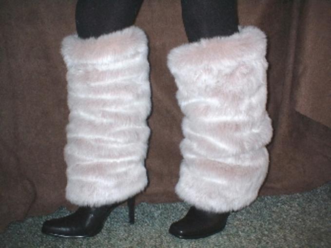 Pink Champagne Faux Fur Leg Warmers