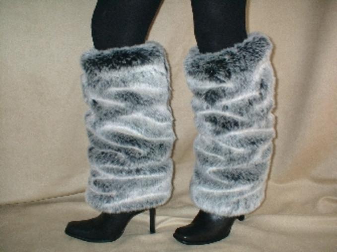 Arctic Wolf Faux Fur Leg Warmers