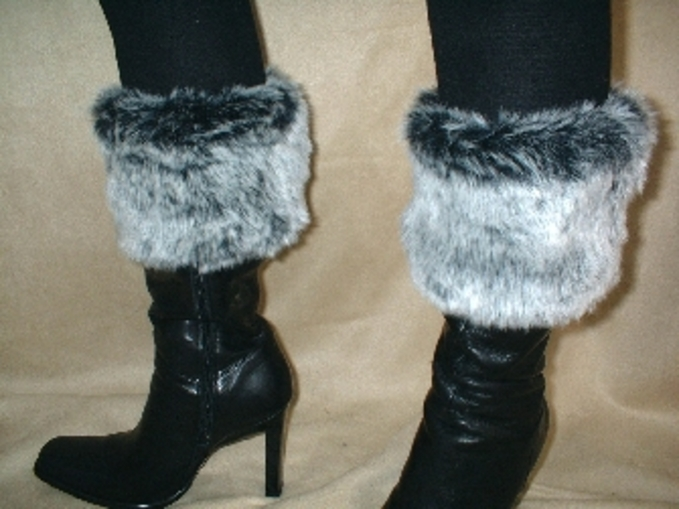 Arctic Wolf Faux Fur Boot Topper