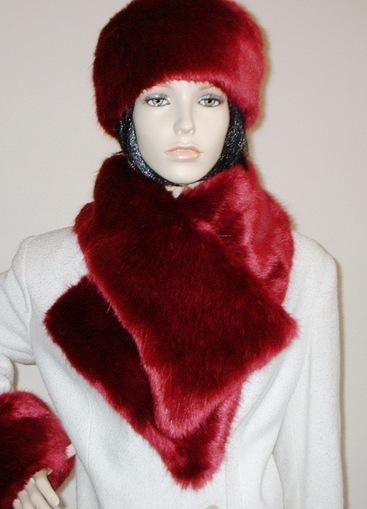 Ruby Red Faux Fur Asymmetric Scarf