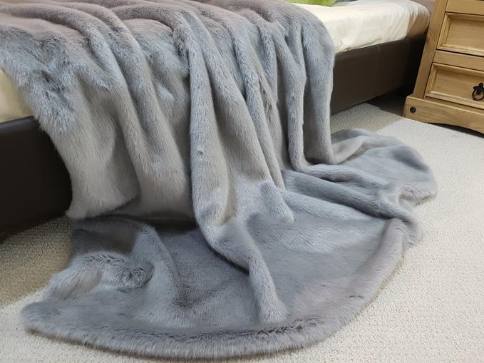 SALE Silver Mink Faux Fur Throws & Cushions
