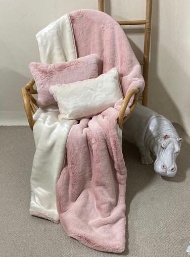 SALE Double Fur Sorbet & Cream Moleskin Throw with Cushions
