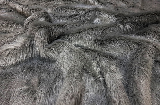 Steel Grey Faux Fur Fabric