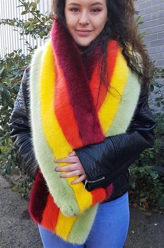 Rainbow Striped Faux Fur Scarf