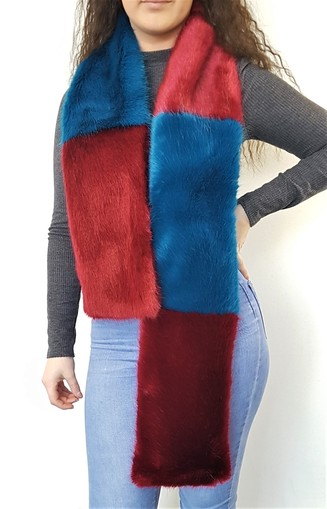 Azure and Ruby Faux Fur Team Scarf