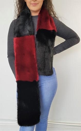 Ruby and Black Faux Fur Team Scarf