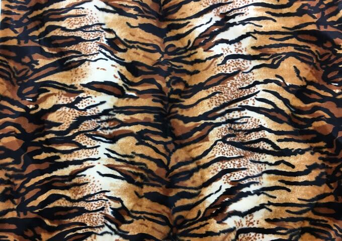 Tiger Animal Print Faux Fur Fabric Per Meter